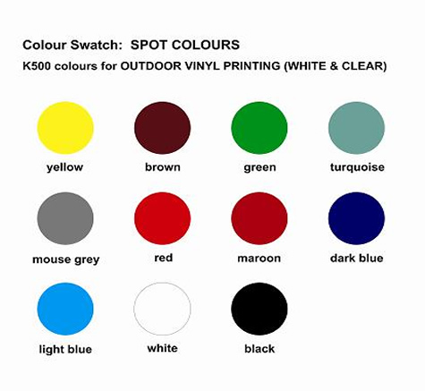 K500 Spot Colours for printing outdoor vinyl labels and stickers